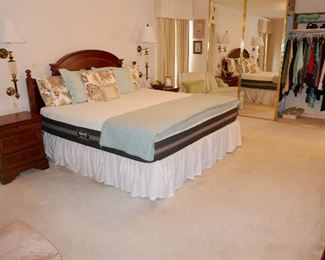 Nice Master Bedroom Suite inc. King Size Kensington Headboard, Pr. Bedside Tables and Dresser w/ mirror in new condition