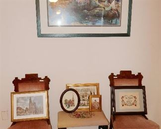 Pr. Victorian Chairs, Pretty Bench, Framed Art