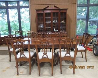 Dining suite by Link Taylor, $800.00  Includes Dining Table, 2 extensions, 10 chairs, buffet, and Display Cabinet.