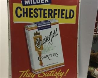 Lot 2 24x30 Chesterfield 'They Satisfy' Sign CLEAN