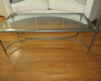 $295 Maison Jansen Style Glass Top Coffee Table 26 w x 65 L x 18 H