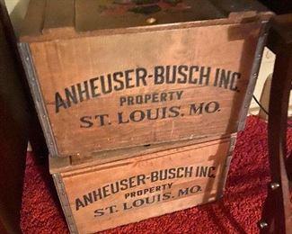 Vintage Wooden Anheuser-Busch Inc. BEER crates