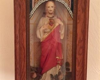 Sacred Heart Christ Figure in Antique Display Box