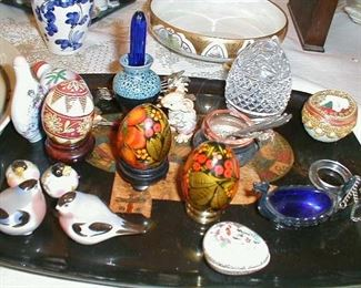 Russian hand painted eggs, individual salts, snuff bottles, Russian birds