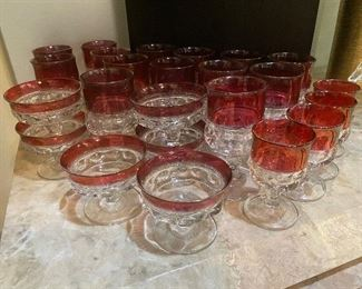 Vintage King's Crown-Cranberry Flashed stemware by Tiffan-Franciscan
