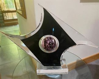 Modern abstract lucite sculpture by Shlomi Haziza