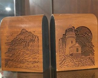 Walnut carved bookends - Point Loma Lighthouse