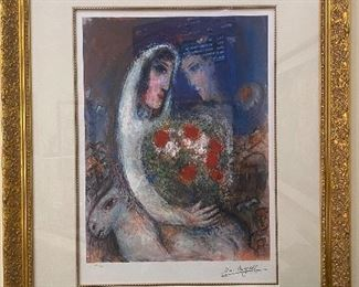 "Chagal lithograph, numbered 104/375 Frame: 36-1/2"" x  44-1/2"", art 24"" x 40"""