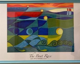 "Print from painting by G.E. Allen, ""The Boat Race"" 1995, San Diego Rowing Club Frame: 36"" xx48"", art: 28"" x 20"""