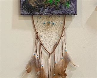 Original painting with artistic beads and feather details