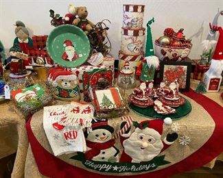 Misc. Christmas china, boxes and textiles