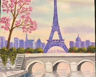 Original oil painting of Paris scene: Eiffel tower and bridge in foreground by M. Mooradian