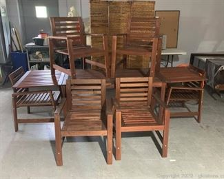 Drop Leaf Patio Table with 6 Chairs