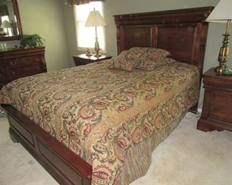 Queen bed- Kincaid Laura Ashley Keswick- This will be sold as a set- Bed, dresser with mirror, 2 nightstands and armoire