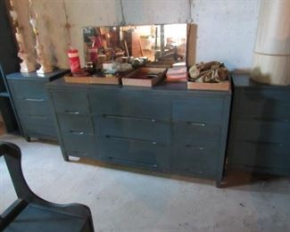 Good older dresser from Showers furniture has matching 3 drawer cabinets and small desk with chair