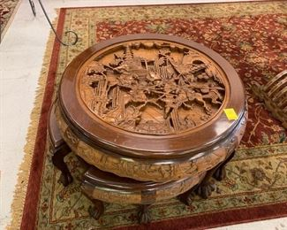 Chinese Carved Coffee Table with 4 Stools