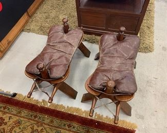 Leather Saddle Foot Stools