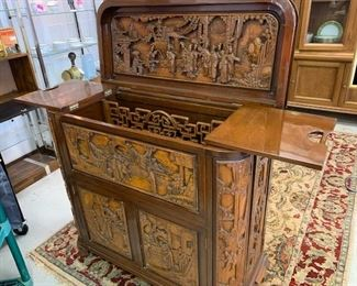 Rosewood Carved Chinese Bar Cabinet