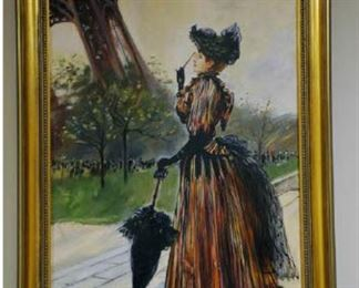 "Jean Beraud Embellished Giclee on Canvas  'Near the Eiffel Tower' 24""Hx16""W"