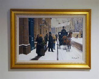"Jean Beraud Embellished Giclee on Canvas 'La Sortie du Bourgeois' 24""Hx40""W"