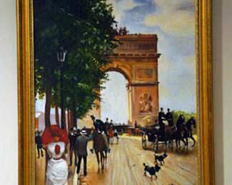 "Jean Beraud Embellished Giclee on Canvas 'L'Arc du Triomphe, Champs-Elysee 24""Hx16""W"