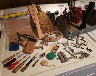 Vintage tool lot with metal tool box