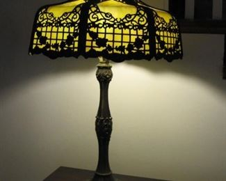 $145Antique,  leaded glass lamp