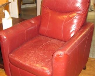 $50.00 Red leather chair needs a little leather cleaning