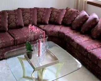 Classic dark red and gold  mix print sectional sofa