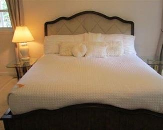Beautiful complete king bed frame/ all linens and 'free' mattress included