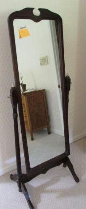 Dark cherry finish cheval mirror