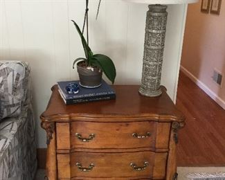 3 drawer accent table w/carved ends
