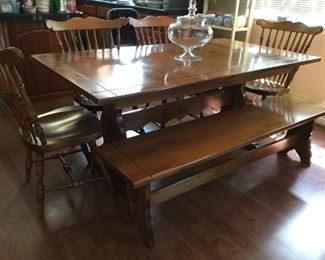 Kitchen trestle style dining table w/ 4 spindle back chairs,  bench seating and 2 leaves