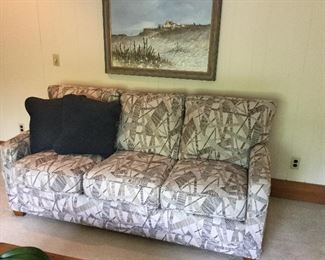 Lazy Boy 3 cushion couch - blue, tan, white