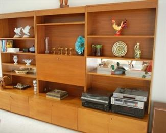 """3 piece sectional bookcase/cabinet, mid-century, each piece is 39"""" W x 21"""" D x 78"""" H"""