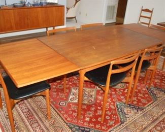 """Dining Room Table, Denmark, mid-century modern, 2 folding leaves, open - 101"""", 6 chairs, 59"""" W x 37"""" D x 29"""" H"""