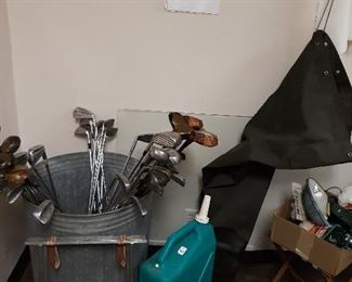 water can,waders,clubs, galvanized can