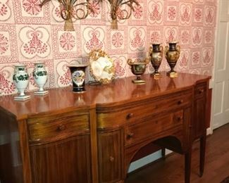 C. 1900 mahogany and mahogany veneer sideboard which matches table and chairs, but will be sold separately from the other items.