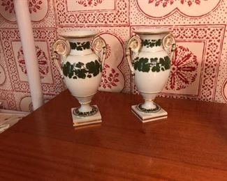 Pair c. 1820 Meissen Green Vine pattern urns
