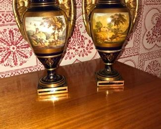 Pair Old Paris or unsigned Sevres urn-form vases on raised bases