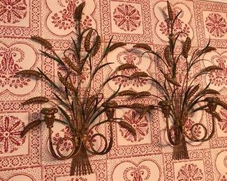 Pair c. 1960s Sheaves of Wheat Gilt Metal Sconces