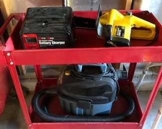 Battery charger, chainsaw, shop vac and cart -- all nice.