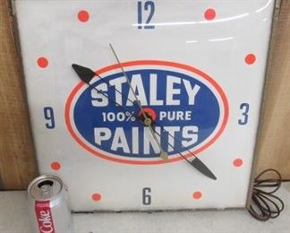 Staley Paints Electric Clock - Runs - Made by Pam Clock Company
