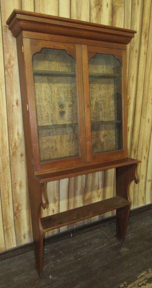 Walnut Wall Mount Double Door Bookcase