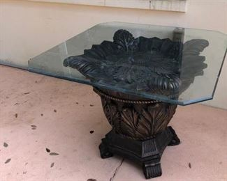 Large glass top end/side table, small chip on glass edge, not sharp, needs a good cleaning, $50