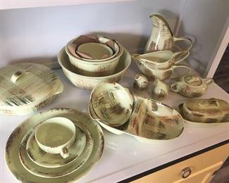 70 plus Pieces of Vernonware.  Raffia pattern.