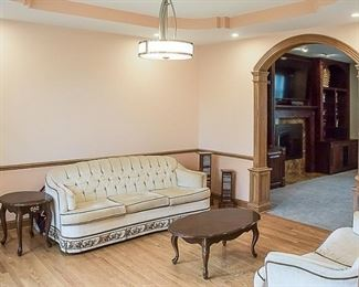 3.b sofa, love seat and 3 tables