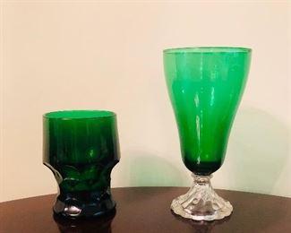 Tetley tea glasses , vintage emerald juice glasses