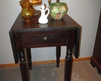 drop leaf stand & Roseville pottery