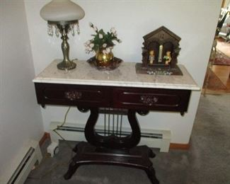 Marble top table & Hummel